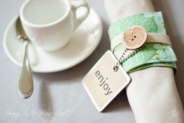 <i>Napkins rings are made from scrap fabric.</i>