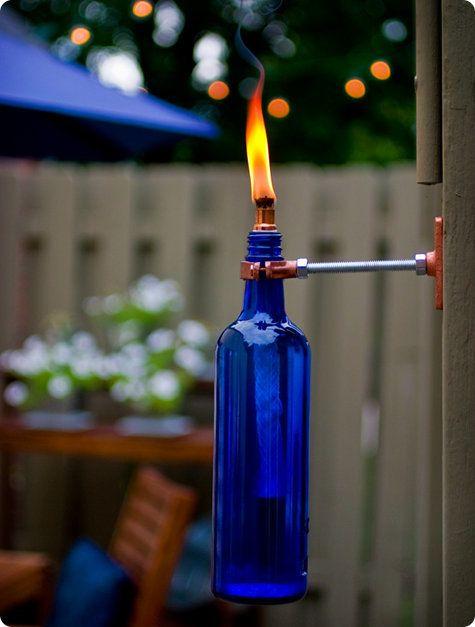 <i>Wine bottles make great tiki torches.</i>&nbsp;