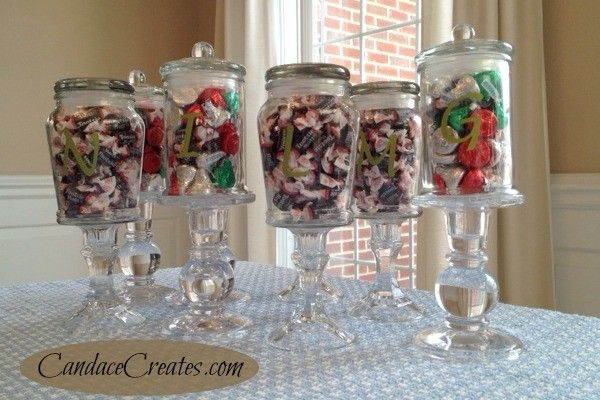 <i>Old sauce and candle jars are used as candy dishes.</i>