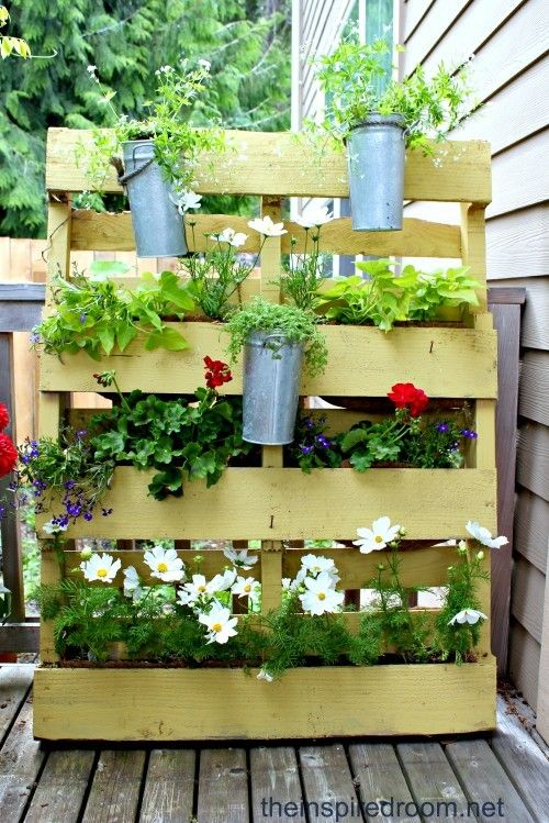 <i>A pallet is turned into a vertical garden.</i>