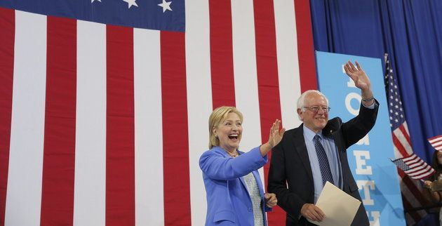 Clinton and Sanders at the joint rally in New Hampshire on Tuesday