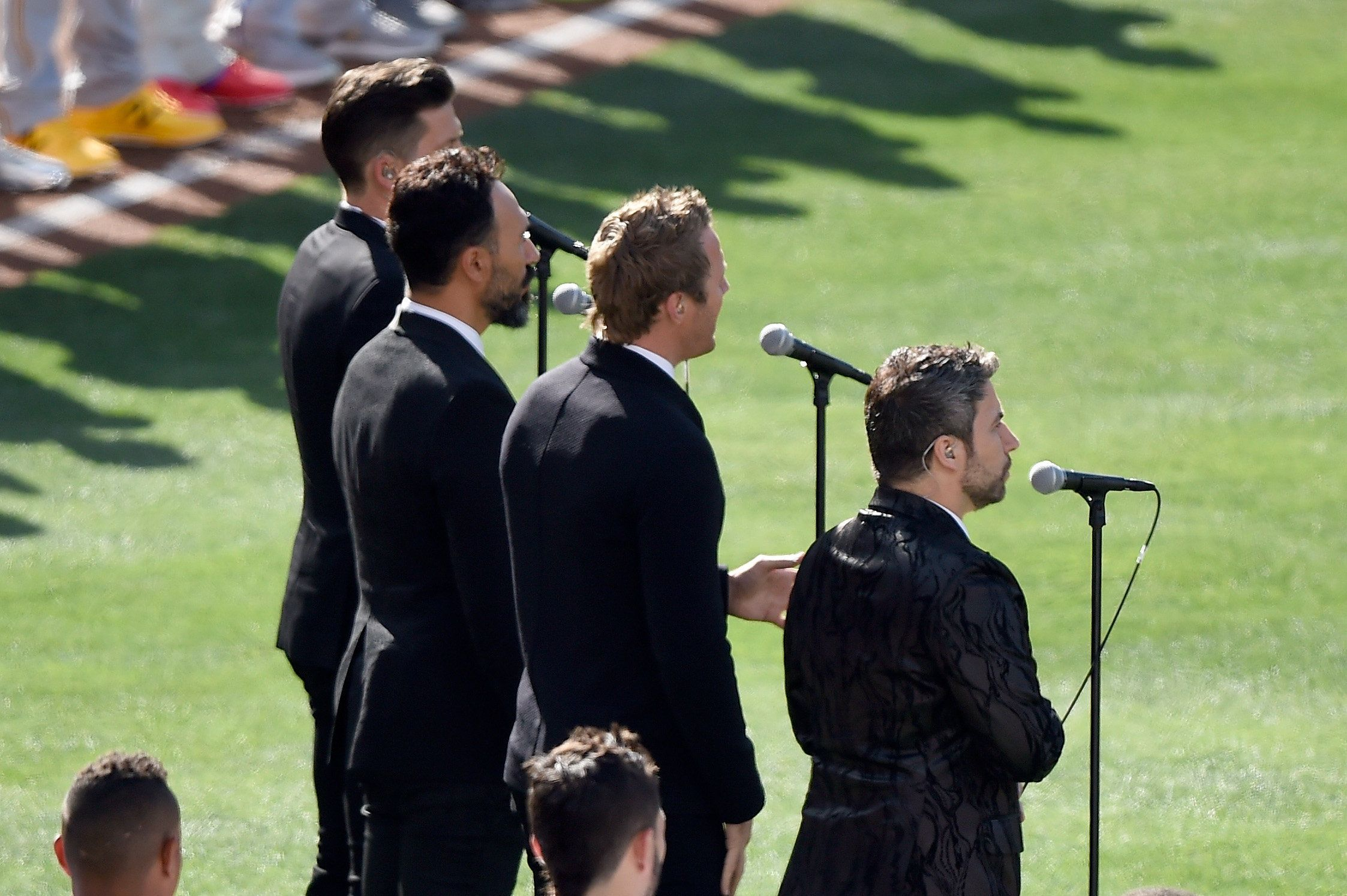 SAN DIEGO, CA - JULY 12:  The Tenors, musicians based in British Columbia, perform 'O Canada' prior to the 87th Annual MLB All-Star Game at PETCO Park on July 12, 2016 in San Diego, California.  (Photo by Denis Poroy/Getty Images)