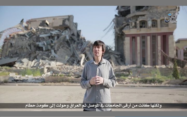Pale and gaunt-looking British journalist John Cantlie, kidnapped in November 2012 by hardline rebels in Syria, appears in an Islamic State propaganda video released on July 12.