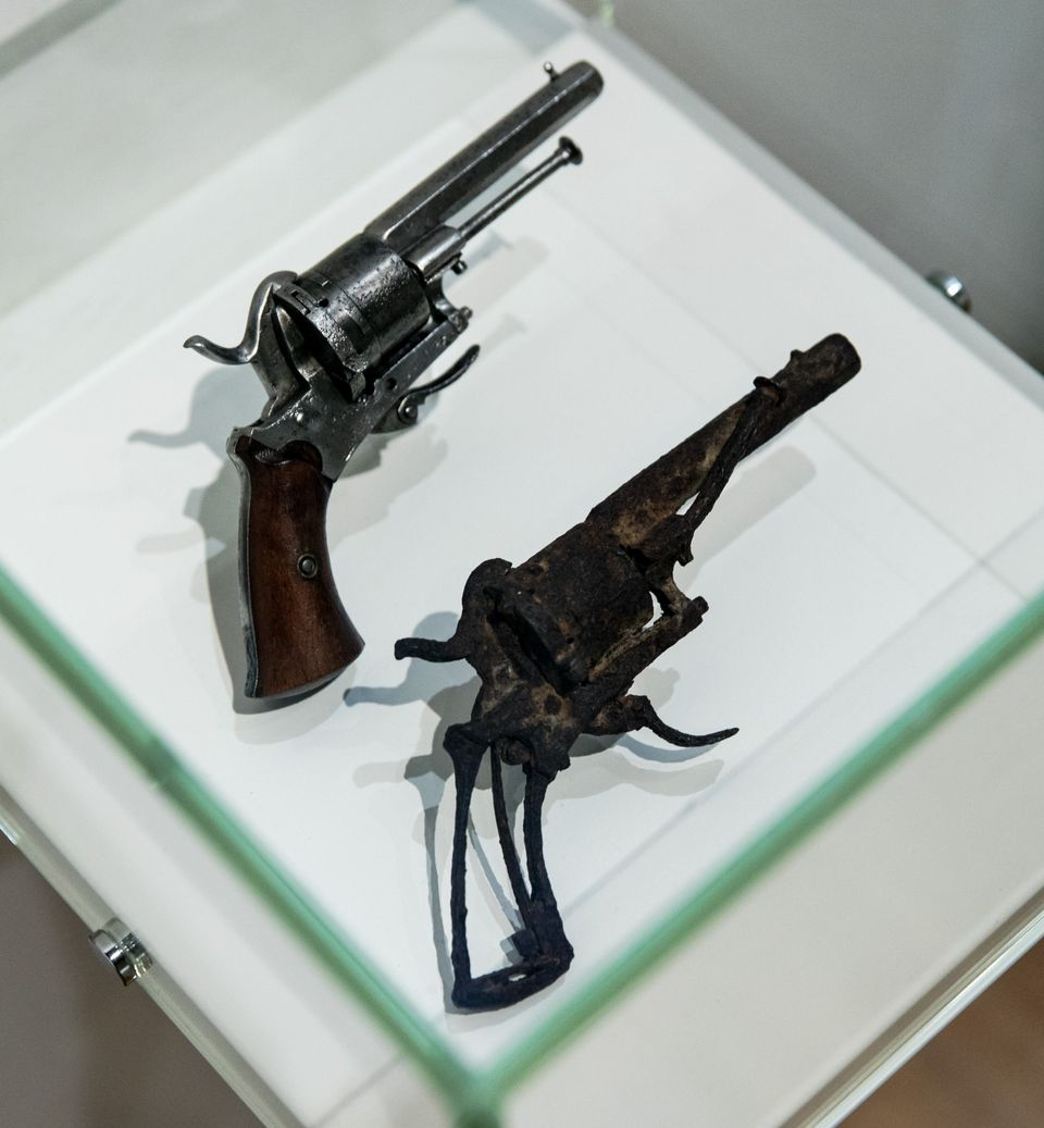 A photo taken on July 12, 2016 at the Van Gogh Museum in Amsterdam shows the weapon which the painter supposedly used to kill
