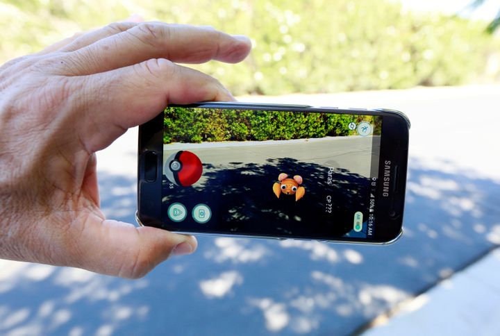 "The augmented reality mobile game ""Pokemon Go"" by Nintendo is shown on a smartphone screen in this photo illustration taken i"