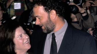 Actor Tom Hanks and mother Janet Hanks attend 'The Story of Us' New York City Premiere on October 10, 1999 at the Ziegfeld Theater in New York City. (Photo by Ron Galella/WireImage)