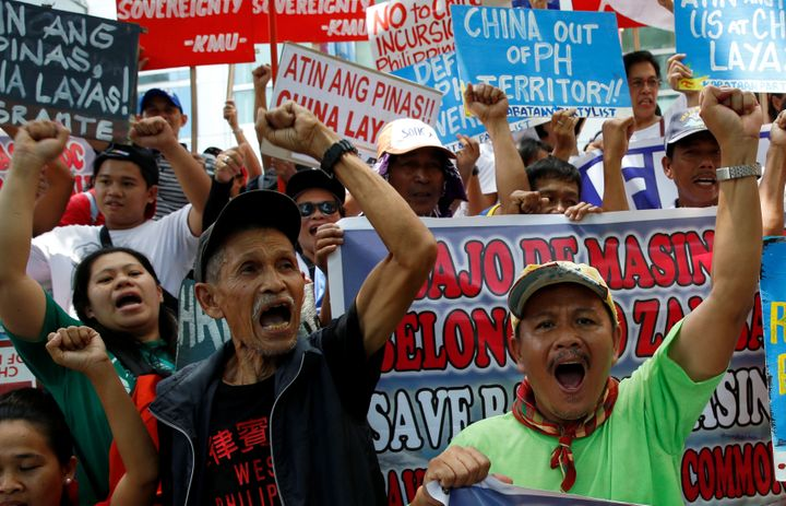 Demonstrators in Manila chanted anti-China slogans during a rally over the South China Sea disputes.