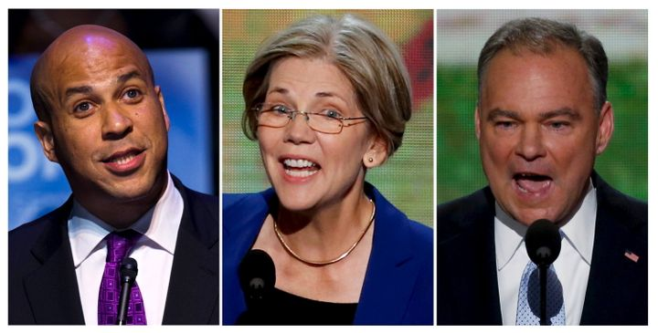 From left, Sens. Cory Booker, Elizabeth Warren and Tim Kaine are among those being discussed as possible Hillary Clinton vice