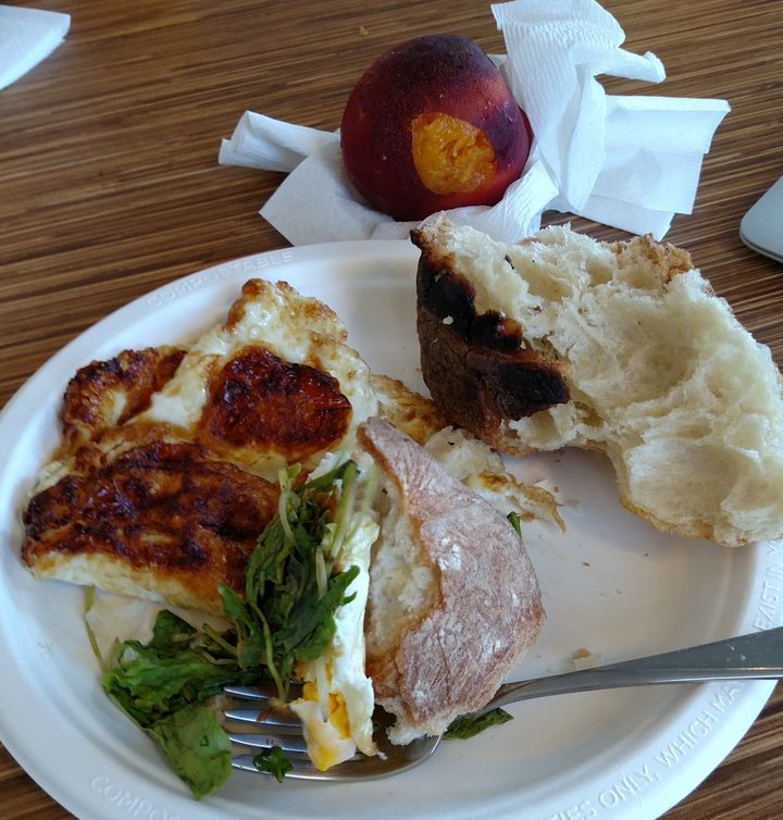 Stale ciabatta bread, old eggs, wilted arugula and a mealy peach. Yum!