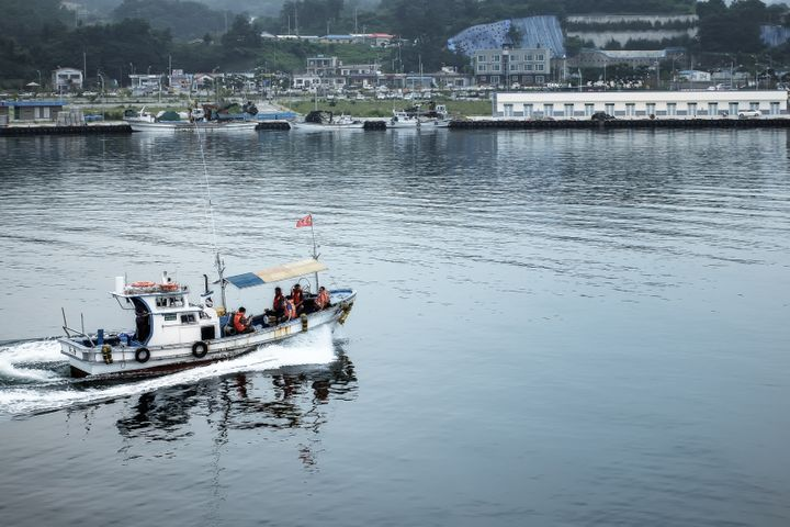 Peoplein Sokcho, South Korea, can fish and play