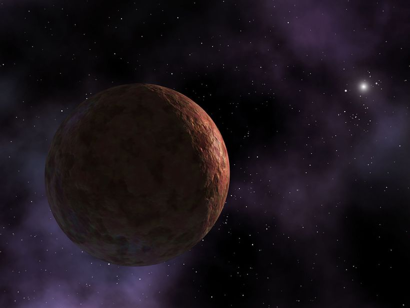 Artist's visualization of Sedna. The object is so far away that the Sun appears as an extremely bright star instead of the la