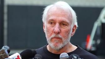 Gregg Popovich became teary-eyed while talking about Tim Duncan's late father.