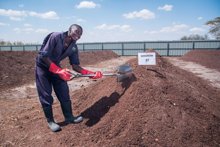 Sanergy employee working with theirorganic fertilizer made from human waste.