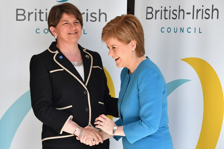 Women leaders now dominate several parties and national parties in the U.K. Above, First Minister Northern Ireland Arlen