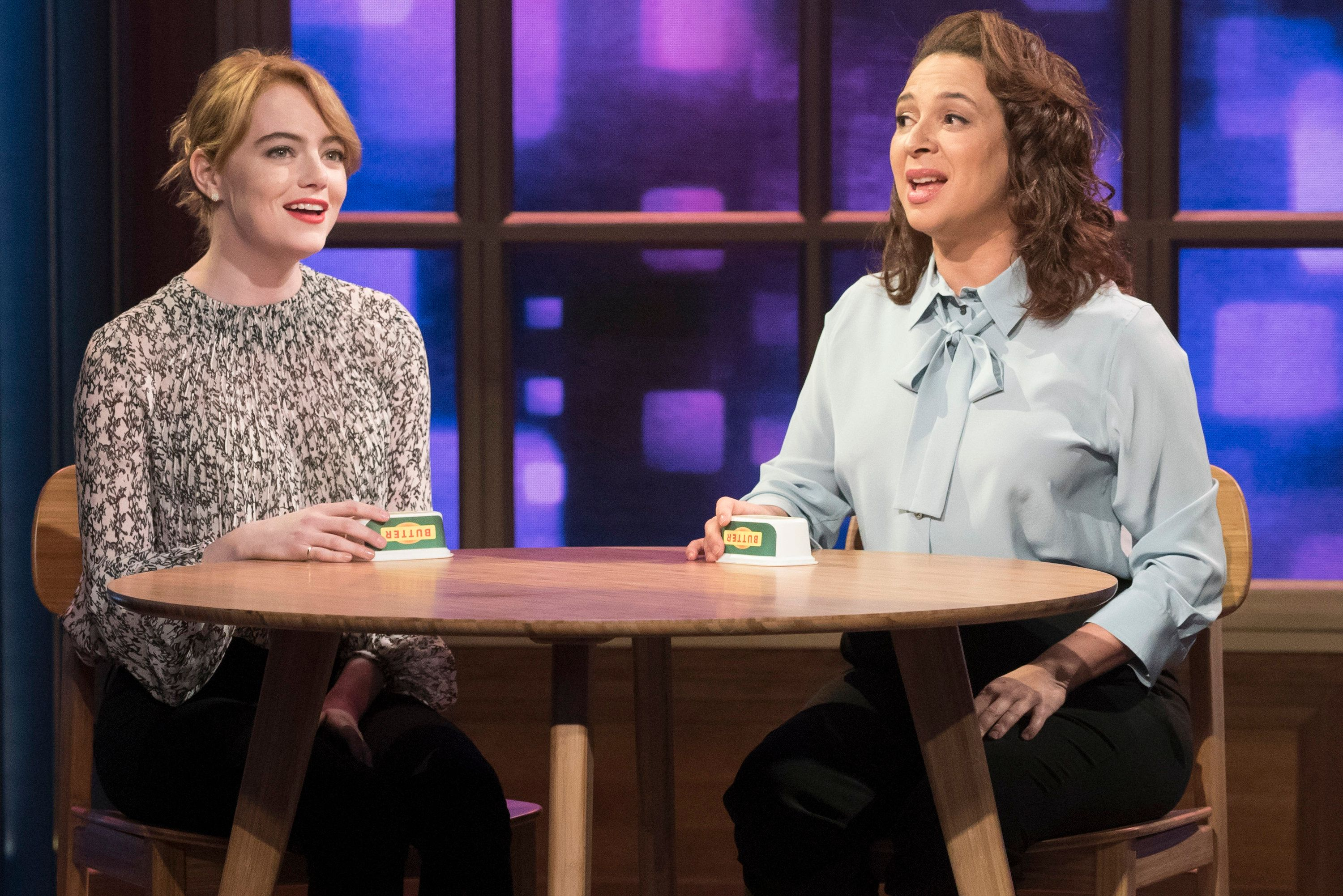 MAYA & MARTY -- Episode 106 -- Pictured: (l-r) Emma Stone, Maya Rudolph during the 'Call Your Girlfriend' song on July 12, 2016 -- (Photo by: Virginia Sherwood/NBC/NBCU Photo Bank via Getty Images)
