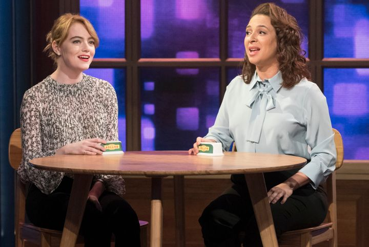 "Emma Stone and Maya Rudolph during the ""Call Your Girlfriend"" song on July 12, 2016."