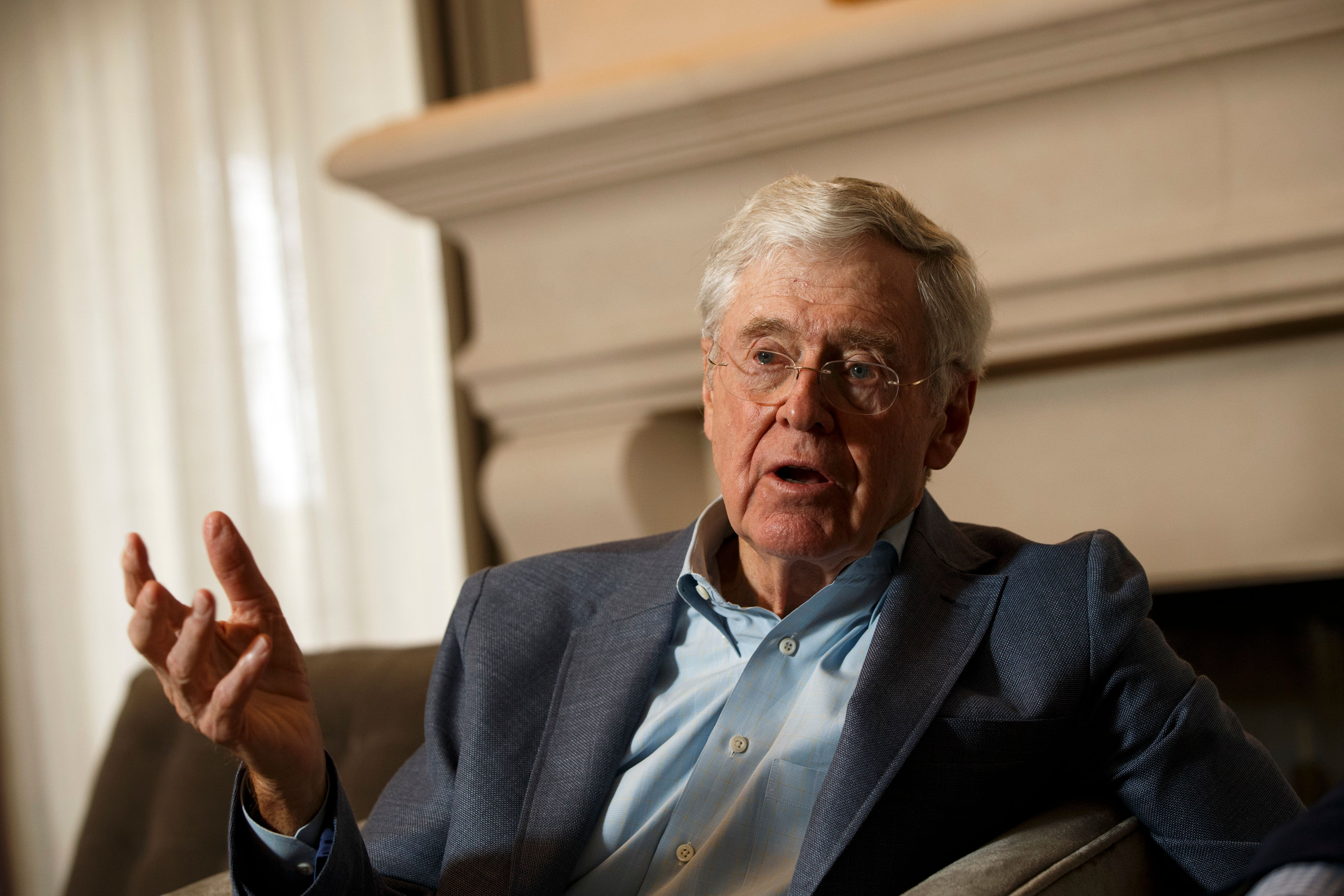 Dana Point, CA - August 3: Charles Koch and Dr. Michael Lomax, president and chief executive officer of the United Negro College Fund, speak during an interview with the Washington Post at the Freedom Partners Summit on Monday, August 3, 2015 in Dana Point, CA. (Photo by Patrick T. Fallon for The Washington Post via Getty Images)