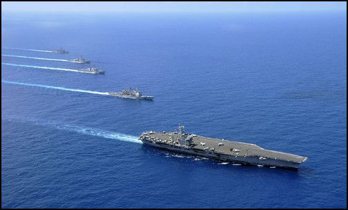 Ships in formation in the South China Sea