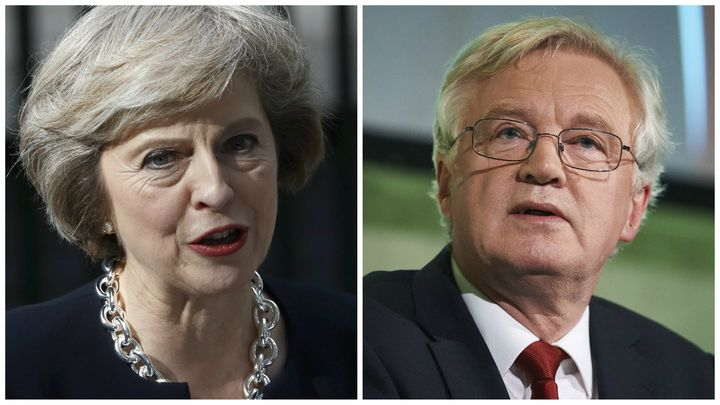 Prime minister Theresa May and the British government's new Minister for Brexit, David Davis MP.