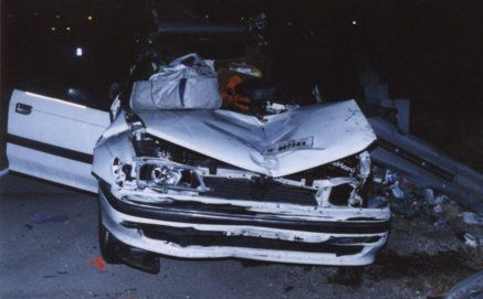 The wreck of Konstantin's wife's car, which she crashed inSierra Blanca, Texas, in 1999 after falling asleep at the wheel.
