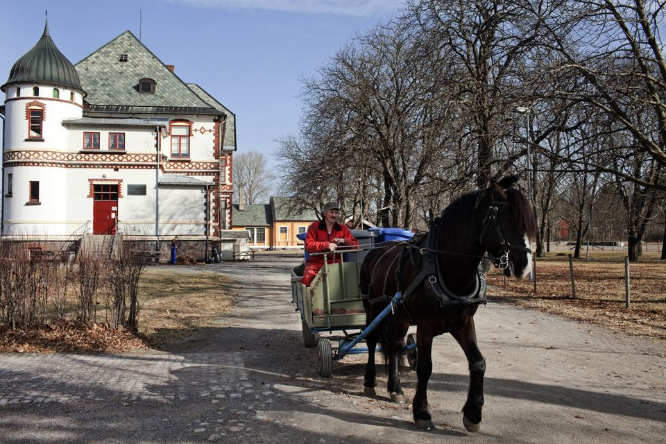An inmate rides a horse wagon in Bastoy Prison on April 11,
