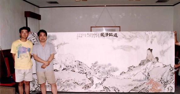 Nan Liu(left) with Professor Fan Zeng at his studio, 1993