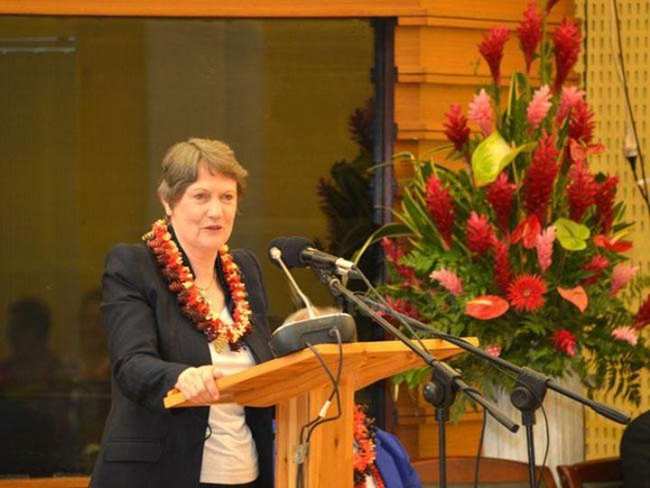 Helen Clark during a speech in Samoa