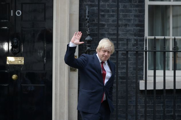 Boris Johnson pictured as he exited Downing Street