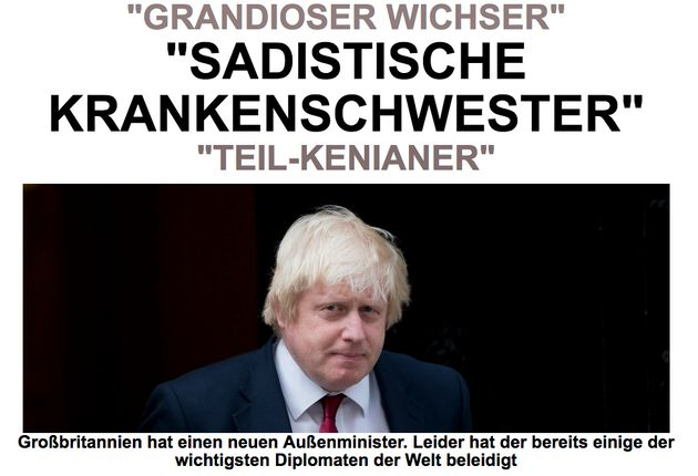 HuffPost Germany's front page on Boris Johnson's