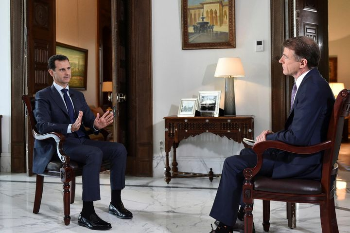 Syria'sBashar Assad, left, denied any wrongdoing in the brutal civil war during a Damascus interview with NBC's Bill Ne