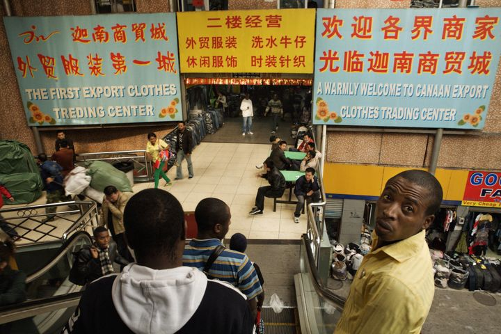Buyers and sellers in The Canaan Market, Guangzhou's first market catering mostly to Africans, December 15, 2008 in Guangzhou