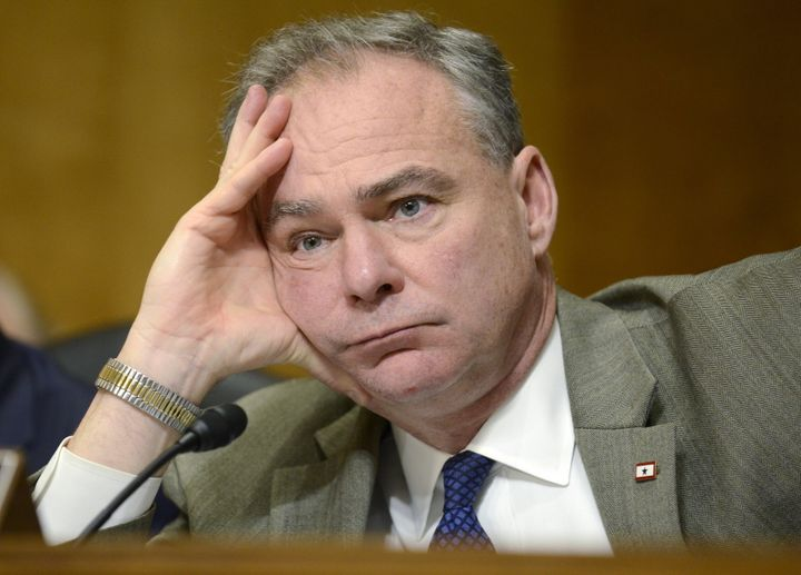 "Senator Tim Kaine (D-VA), a member of the Senate Foreign Relations Committee, listens to remarks during hearings on ""Corrupti"