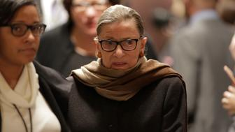 U.S. Supreme Court Associate Justice Ruth Bader Ginsburg arrives to watch U.S. President Barack Obama's State of the Union address to a joint session of Congress in Washington, January 12, 2016. REUTERS/Joshua Roberts
