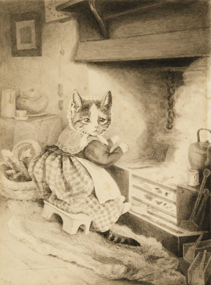 """""""Kitten Warming Her Paws by the Kitchen Fire,"""" an180-by-133 mm grisaille ink-and-watercolor drawing, signed with initia"""