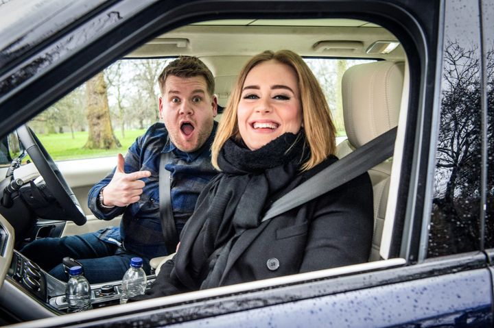 Adele joins James Corden for Carpool Karaoke on 'The Late Late Show with James Corden,' Jan.13th, 2016.