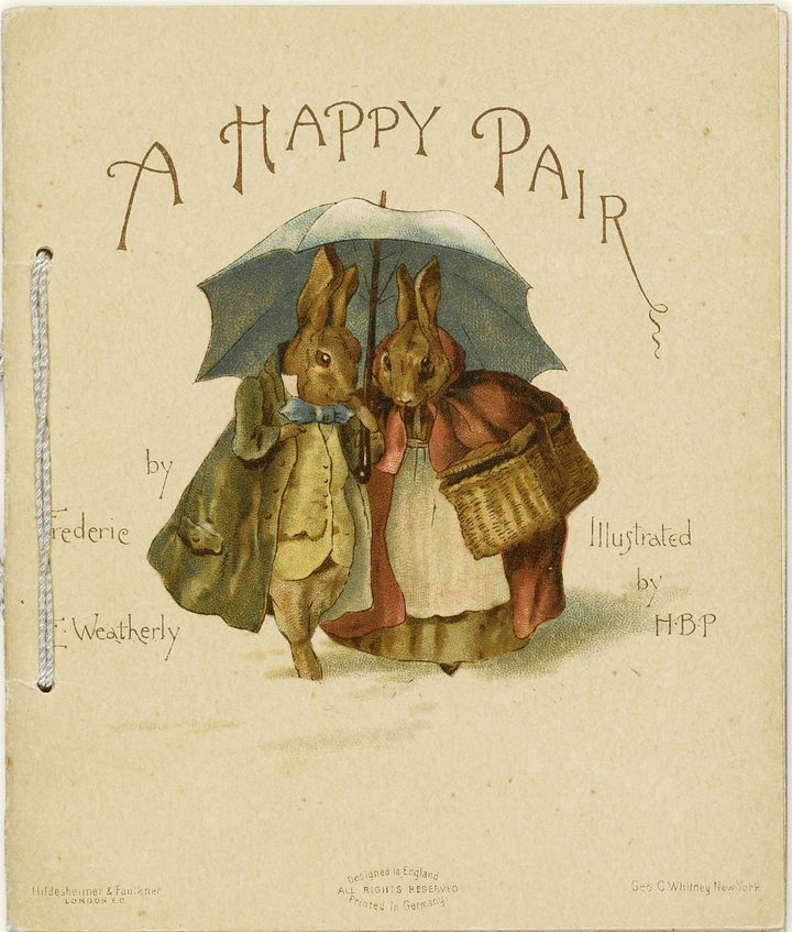 """An illustration for Frederick Weatherly's """"A Happy Pair"""" byBeatrix Potter circa 1890."""
