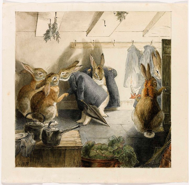 A handout image from Sotheby's auction house from itsEnglish Literature Sale shows Beatrix Potter's illustration for th