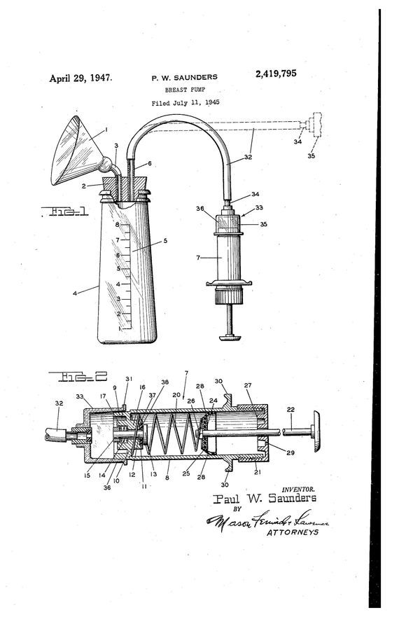 """Breast pump patentfor Paul W. Saunders, filed Jul 11, 1945. Text excerpt: """"The apparatus is designed particularly for s"""