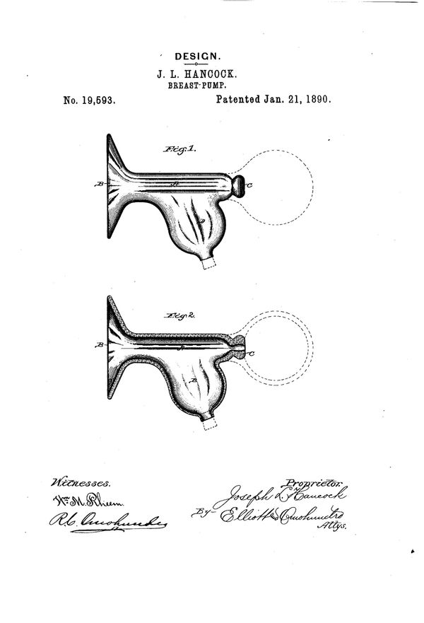 """Breast pump patentfor Joseph Lane Hancock, filed Dec 16, 1889. Text excerpt: """"The design consists of a cylindrical body"""