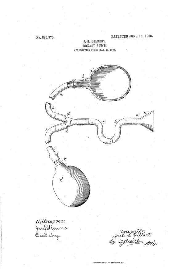 "Breast pump patentfor Joel S Gilbert, filedMar 13, 1906. Text excerpt:""[M]y improvement comprises a shield"