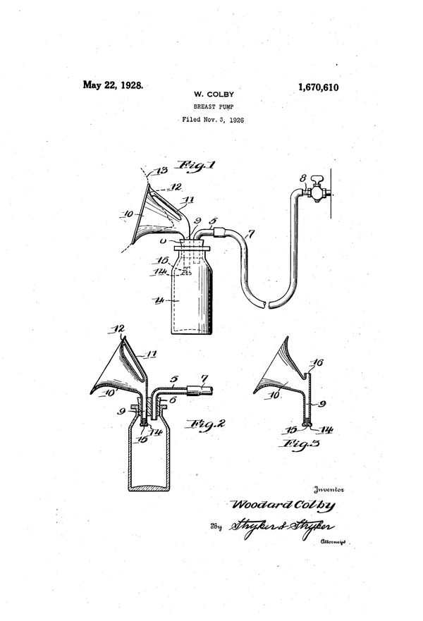 """Breast pump patentfor Woodard Colby, filed Nov 3, 1926. Text excerpt: """"In the present invention, I provide means whereb"""