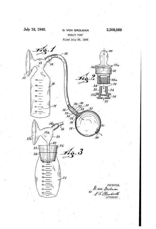 """Breast pump patentfor DietrichVon Grolman, filed Jul 26, 1939. Text excerpt: """"Saidnovel breast pump is desi"""
