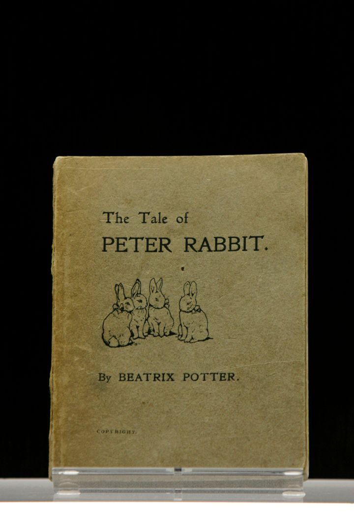 """The first edition of """"The Tale of Peter Rabbit,"""" privately printed by the author Beatrix Potter in 1901, is displayed at the"""