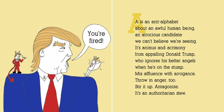 A page from <i>D is for Dump Trump: An Anti-Hate Alphabet,</i>an adult picture book condemning the presumptive GOP nomi
