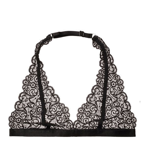 Beautiful lace, triangle softcup style, single hook and eye closure through the back, adjustable neck halter strap, one of ou