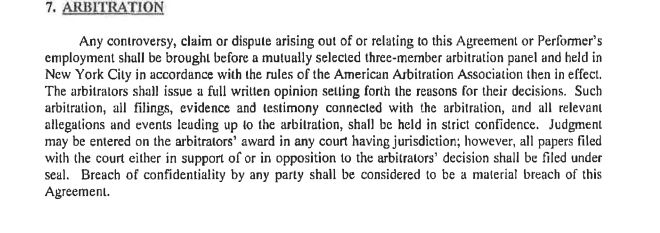 The arbitration clause in Carlson's employment contract.