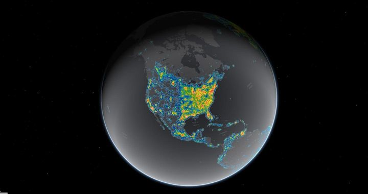 A map of light pollution in North America, recently released in the journal Science, reveals areas where the glow from artifi
