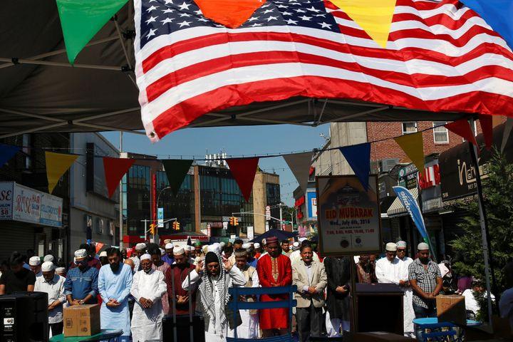 Muslim men attend Eid al-Fitr prayers in Queens, New York, on July 6, 2016.