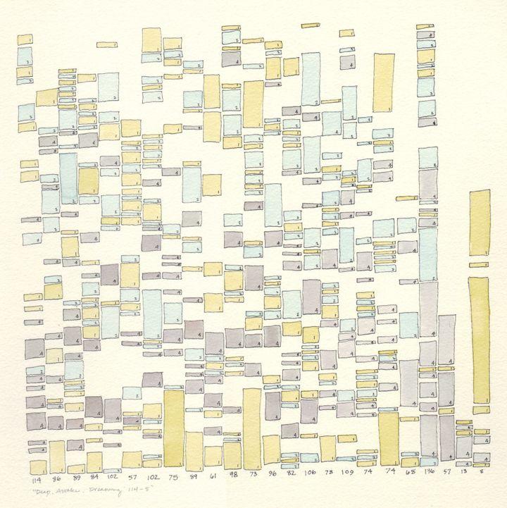 "This 2011 drawing -- ""Deep Awake Dreaming"" -- shows Frick's husband's sleep data."