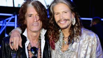 MILAN, ITALY - JUNE 24:  Joe Perry and Steven Tyler attend the Roberto Cavalli show during the Milan Menswear Fashion Week Spring Summer 2015 on June 24, 2014 in Milan, Italy.  (Photo by Vittorio Zunino Celotto/Getty Images)